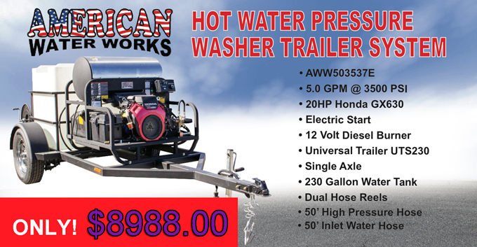 Hot water pressure washer trailer systems